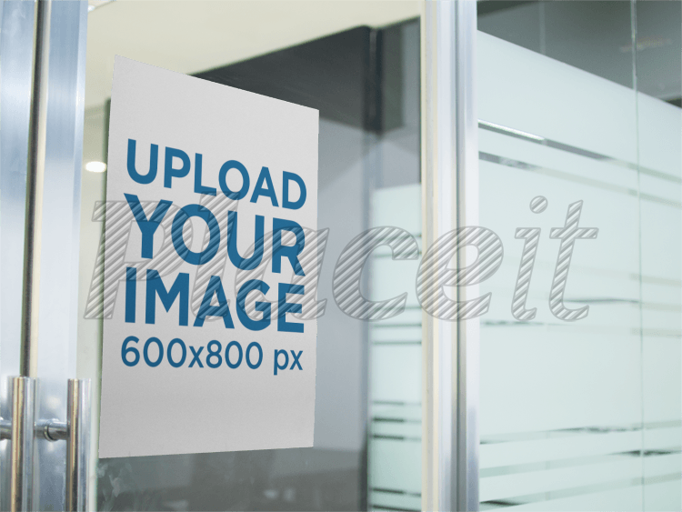 placeit poster mockup on a glass door