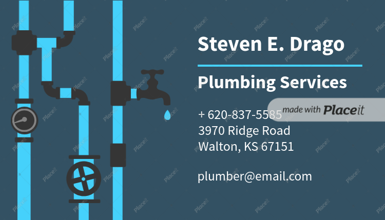 Placeit business card template for plumbers plumbing services business card maker 654foreground image cheaphphosting Image collections