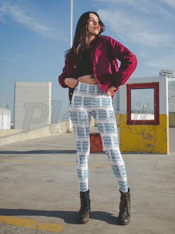 Placeit Women S Leggings Mockup Of A Woman On A Rooftop Parking Lot