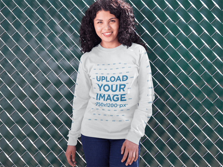 placeit front shot of a young girl wearing a long sleeved tee