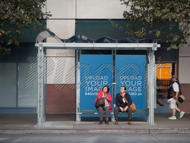placeit billboard mockup at bus stop in city