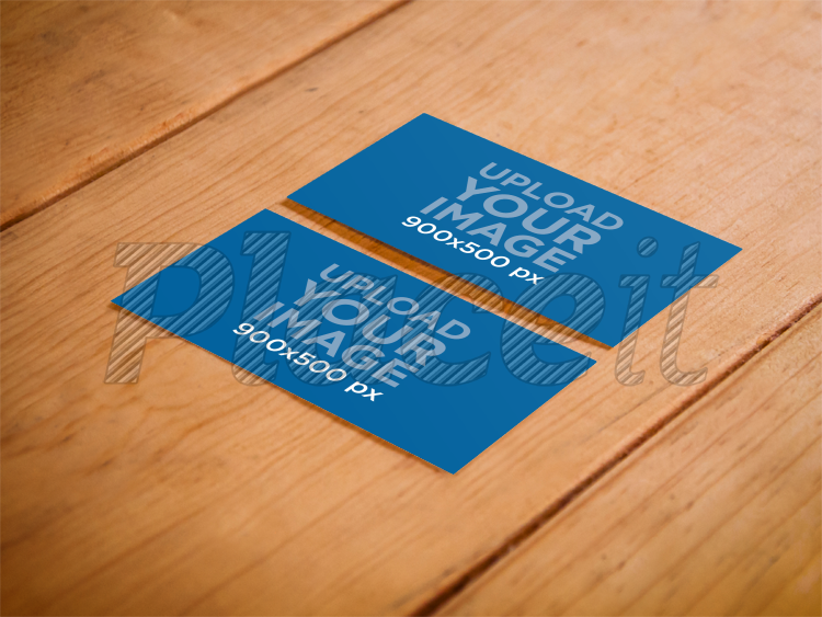 Placeit print mockup business cards on a wooden table business card both sidesforeground image reheart Images