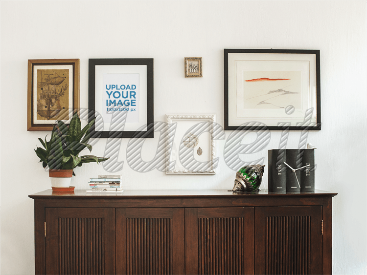 Placeit - Framed Art Print Template on a White Wall With Other Frames