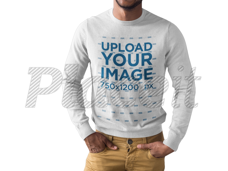 placeit black man wearing a long sleeve tee mockup while standing