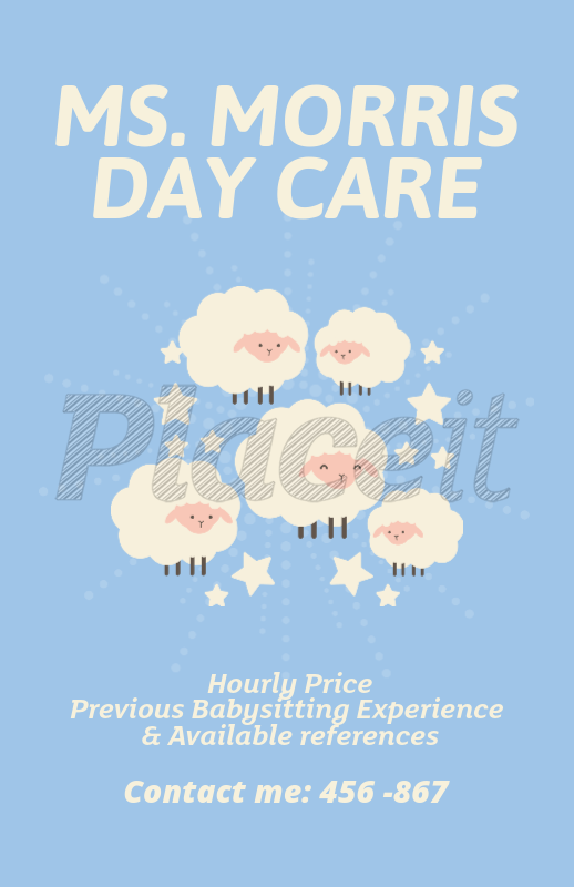 placeit online flyer maker for babysitting services with sheep clipart
