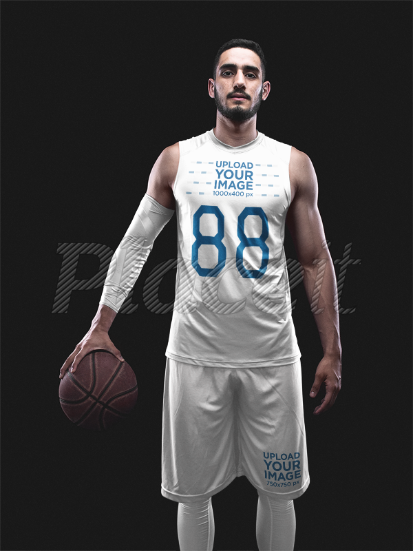 placeit basketball jersey maker muscular man holding ball with