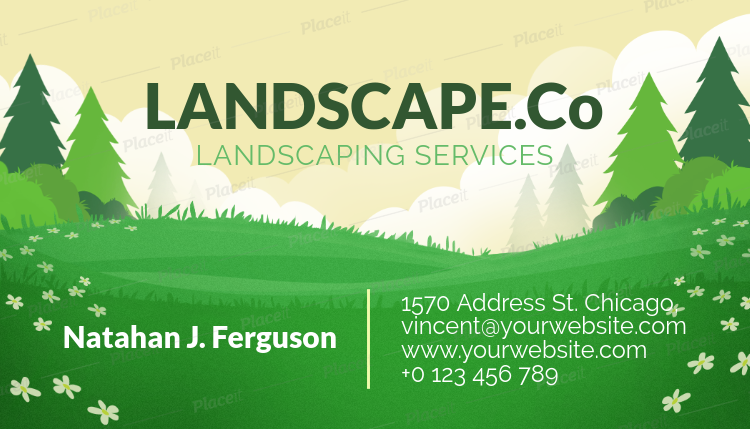 Business Card Template For A Landscape Design Company