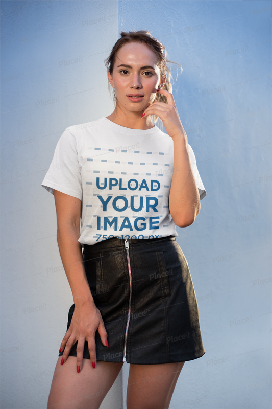 Mockup of a Pretty Girl Wearing a T-Shirt and a Leather Skirt