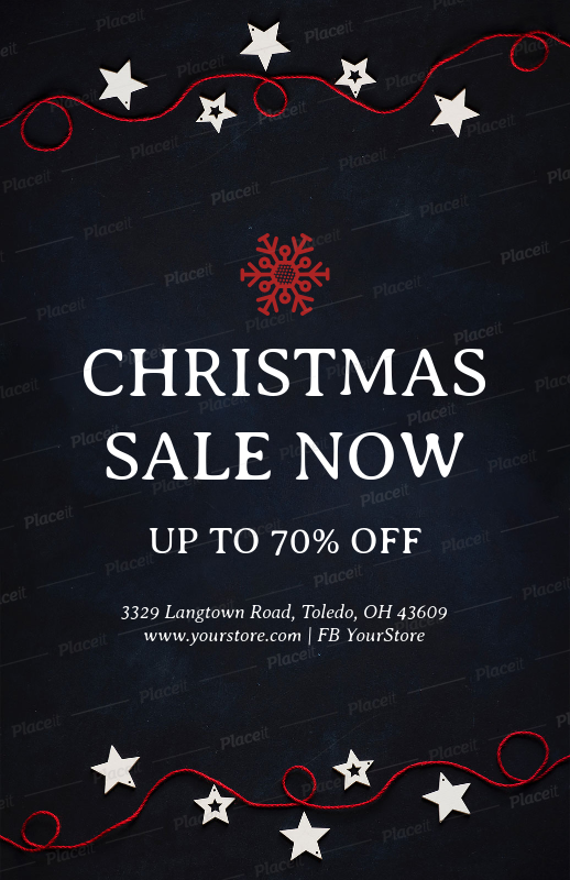 placeit christmas sale flyer design template in black