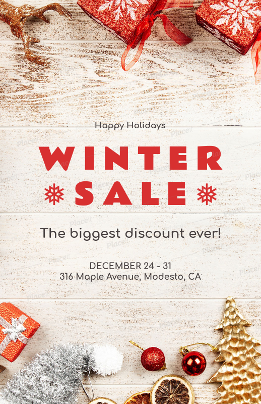 placeit christmas sale flyer maker with winter ornaments for a