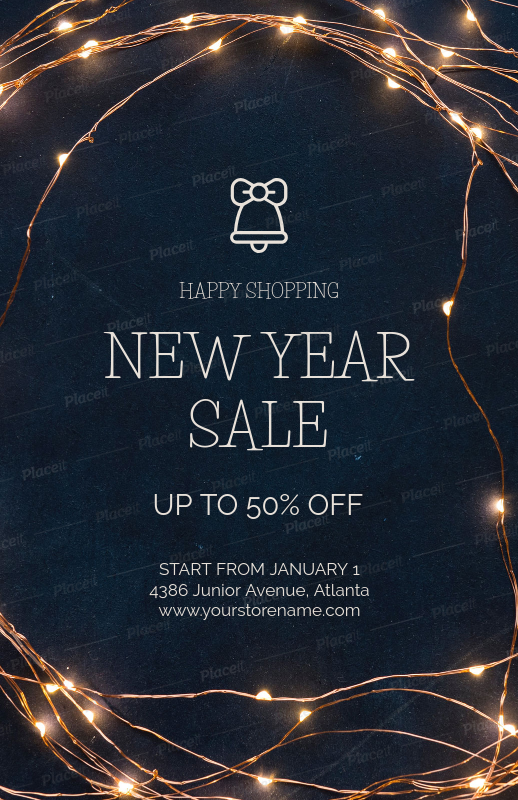 holiday season sale flyer template for a new year sale 853dforeground image