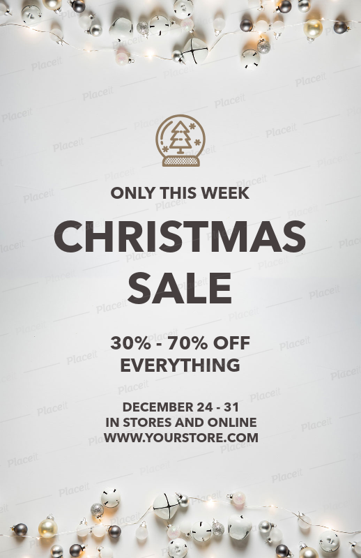 placeit christmas sale flyer template with xmas ornaments for a