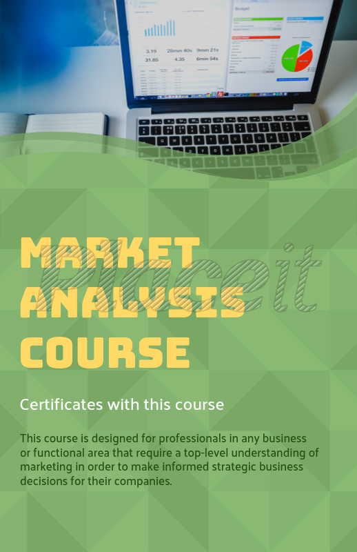 placeit online flyer maker for a market analysis course green theme