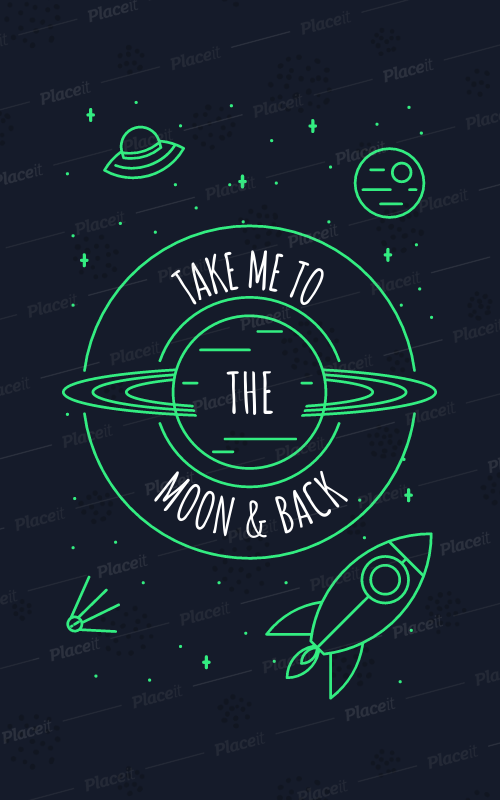 Placeit Circular T Shirt Design Template With Spaceship Doodles