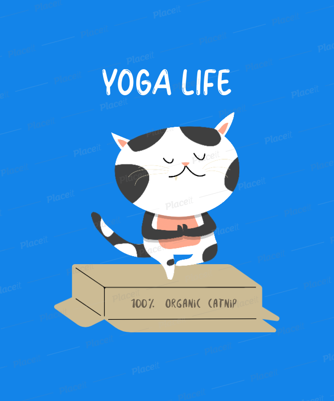Placeit T Shirt Design Template With Funny Cats Doing Yoga Postures