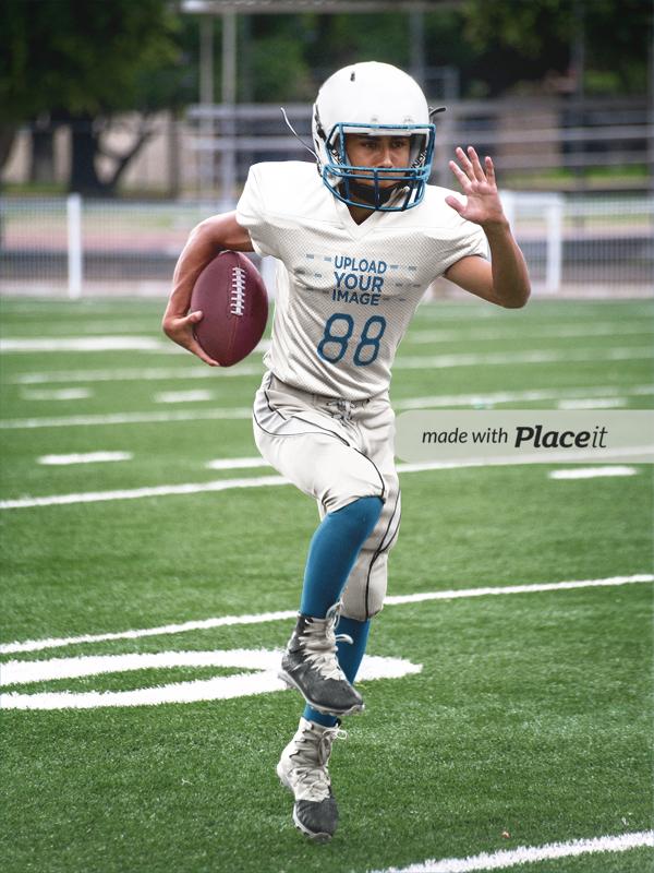 56ca3ec0397 Placeit - Custom Football Jerseys - Boy Running Through the Field
