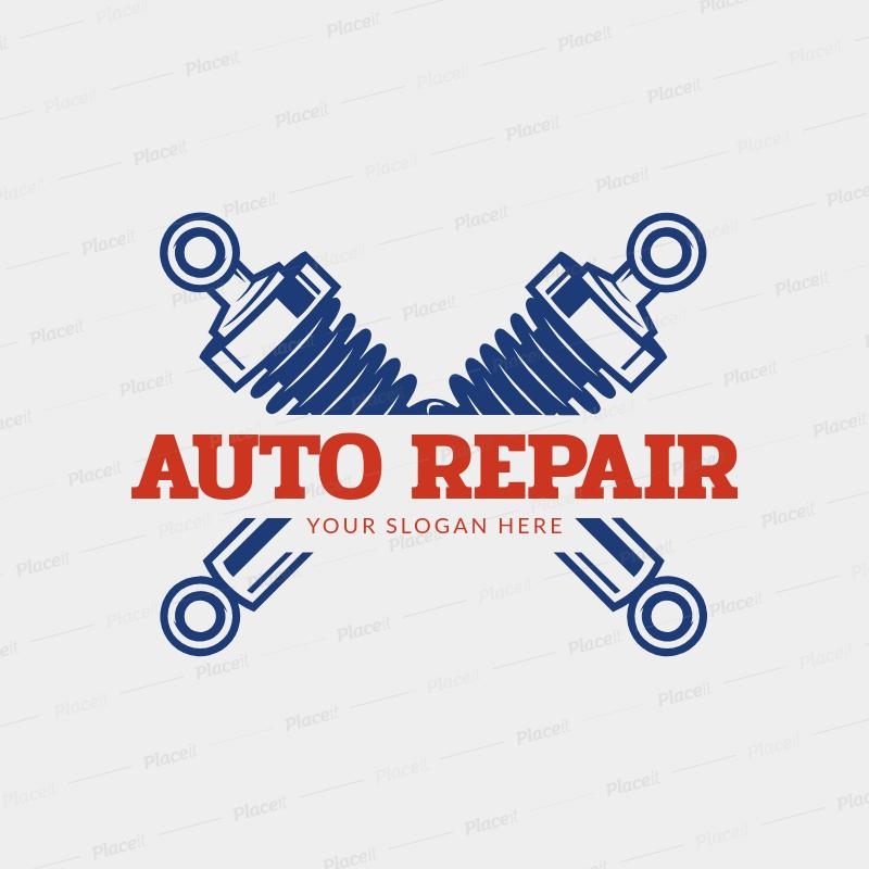 Placeit Auto Repair Logo Maker With Car Shock Symbols