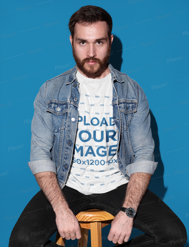 Prime Tshirt Mockup Of A Man Sitting On A Wooden Stool 18697 Ocoug Best Dining Table And Chair Ideas Images Ocougorg