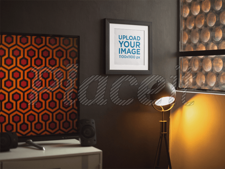 placeit framed art print template by the window with a shining