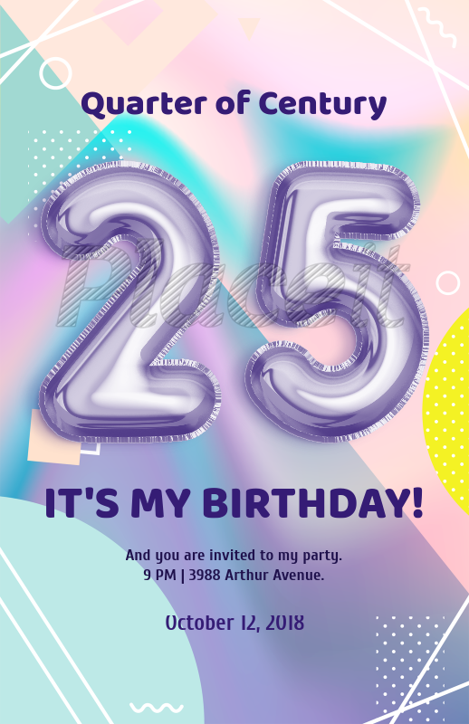 Placeit - Flyer Template with Balloon Numbers and Pastel Colors