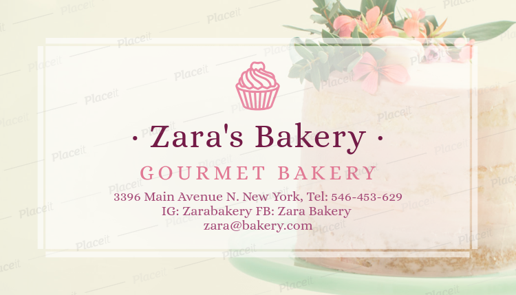delicacy cake bakery business card maker 572cforeground image - Bakery Business Cards