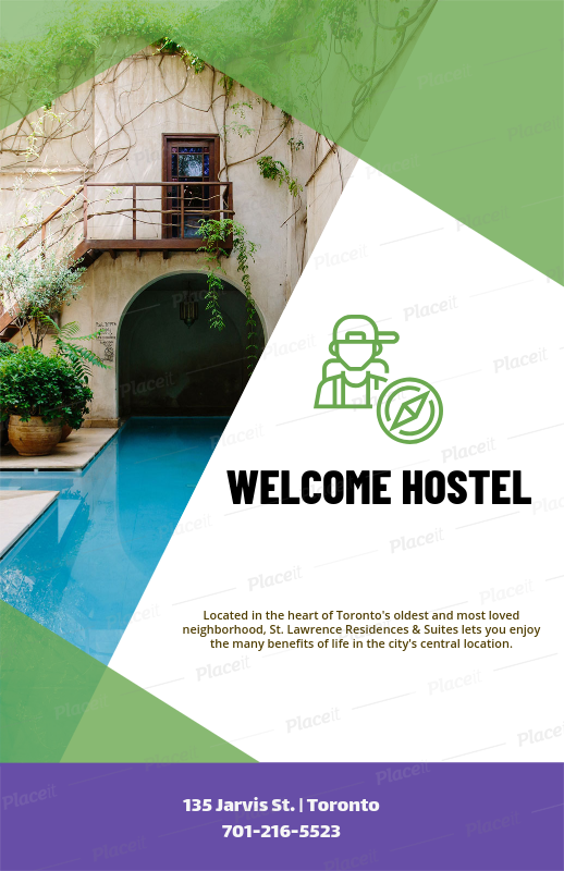 placeit flyer maker template for a youth hostel