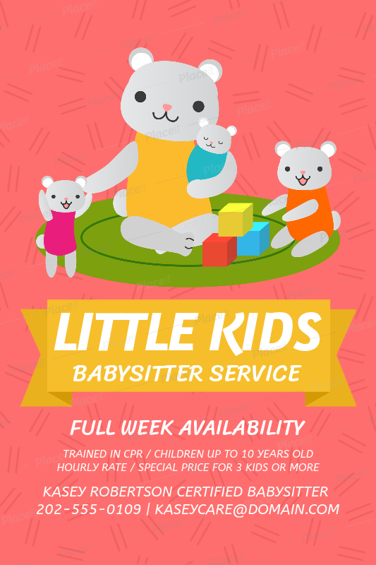 placeit flyer maker for babysitting services