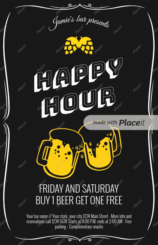 placeit happy hour flyer maker