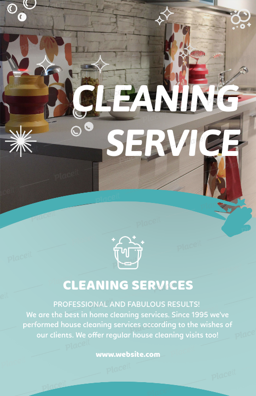 Placeit - Flyer Template for House Cleaning Services