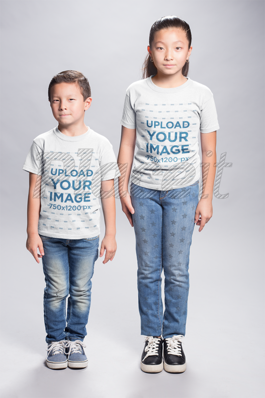 Placeit Asian Kids Wearing T Shirts Mockup In A White Room