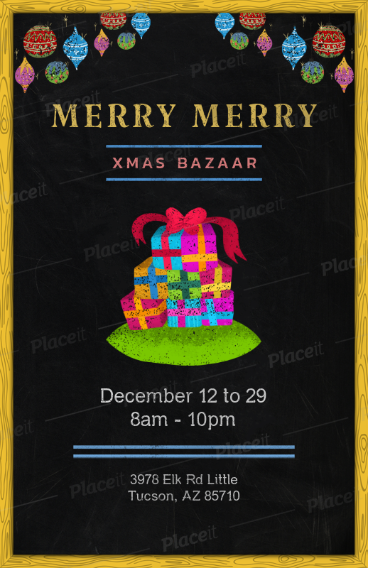 placeit x mas bazaar flyer template with christmas gift boxes