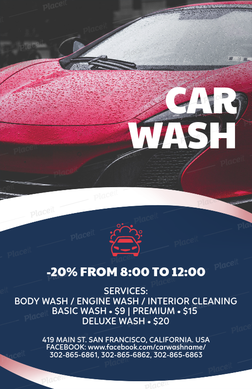 placeit flyer template for car wash flyers