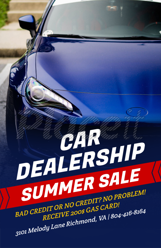 placeit online flyer maker for a car dealership blue theme