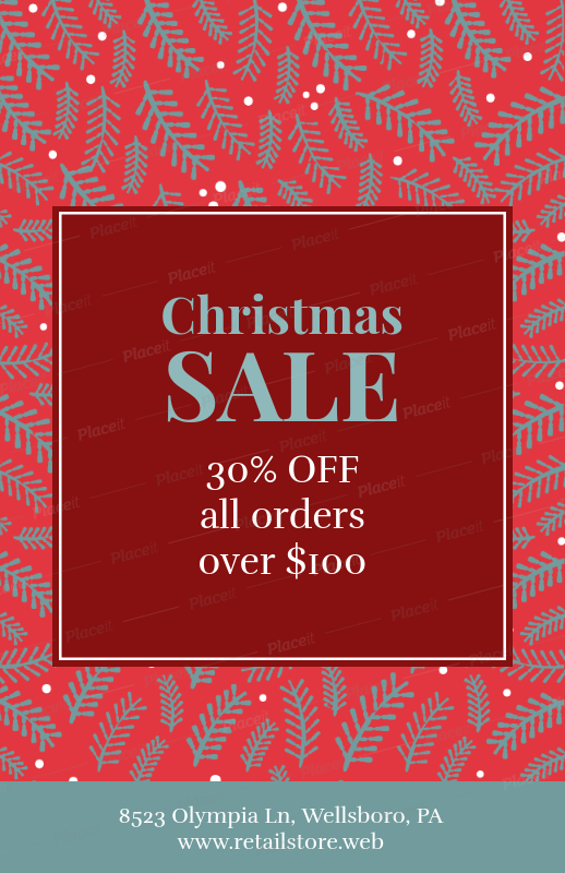 placeit simple flyer design template for christmas sales and deals