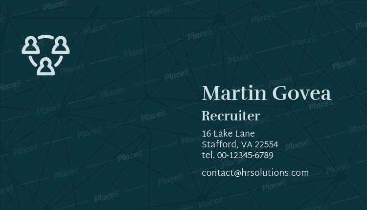 Placeit HR Recruiter Business Card Template - Basic business card template