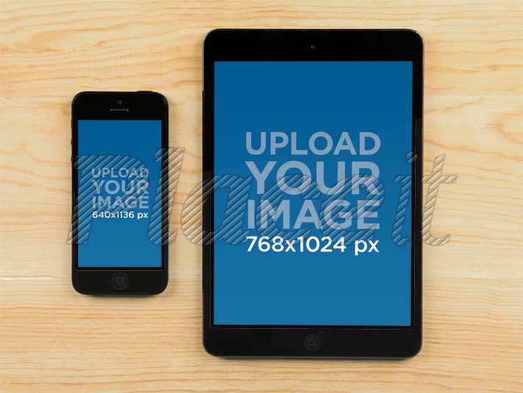 placeit product mockup template iphone ipad on wood table