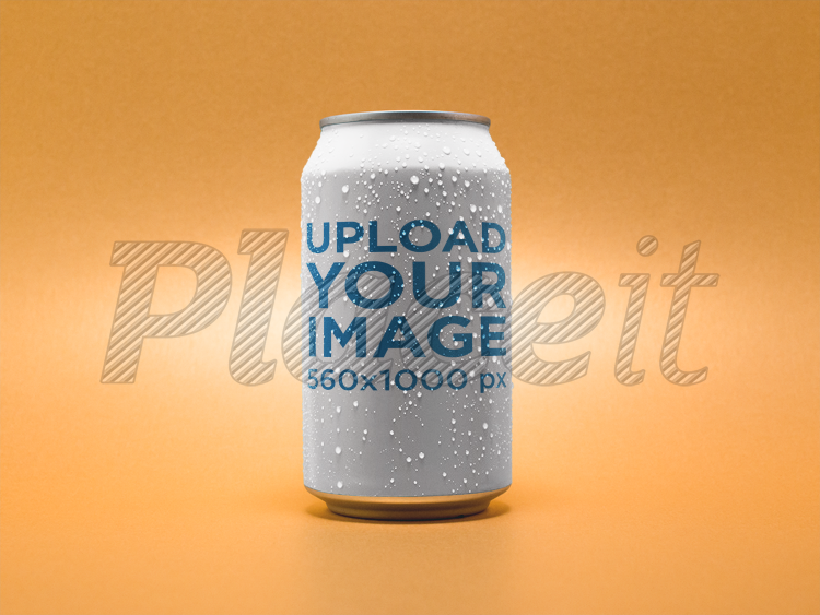 placeit beer can template over an orange background