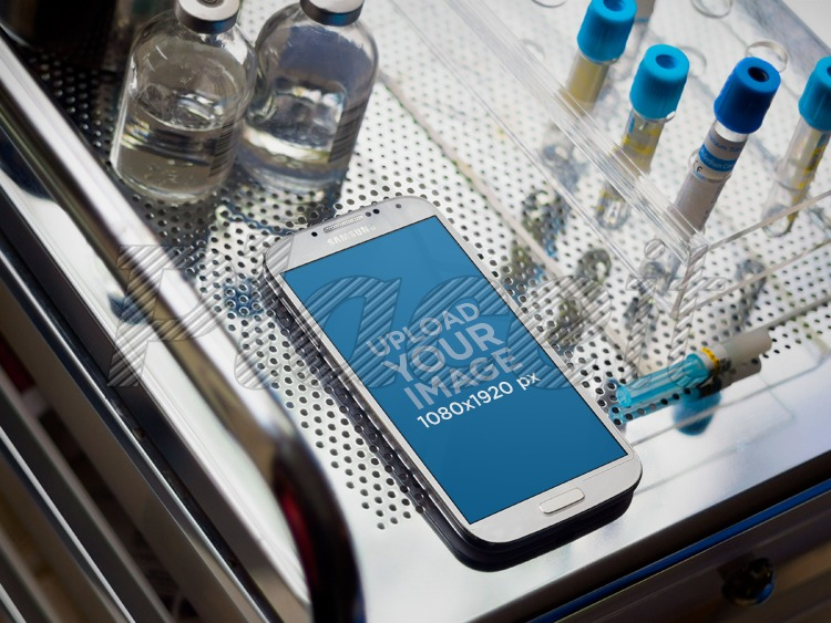 Samsung Galaxy White On Medical CabinetForeground Image