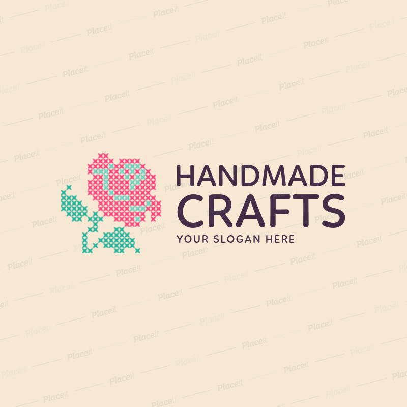 Craft Store Logo Maker With Rose Graphic 1279eForeground Image
