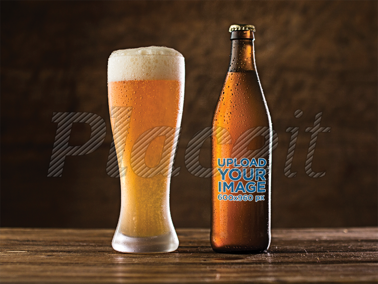 placeit beer bottle label template with witbier on beer glass on a