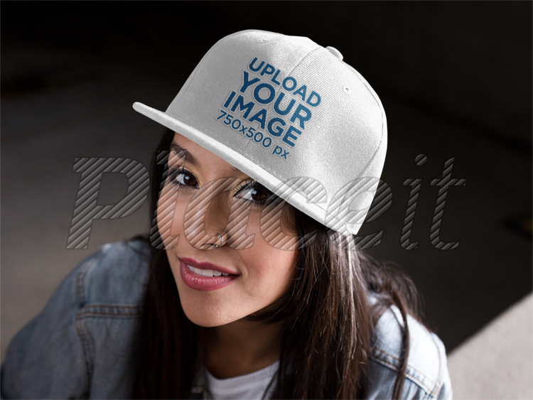 Placeit - Snapback Mockup Featuring a Young Hispanic Girl Smiling 12f46a85065