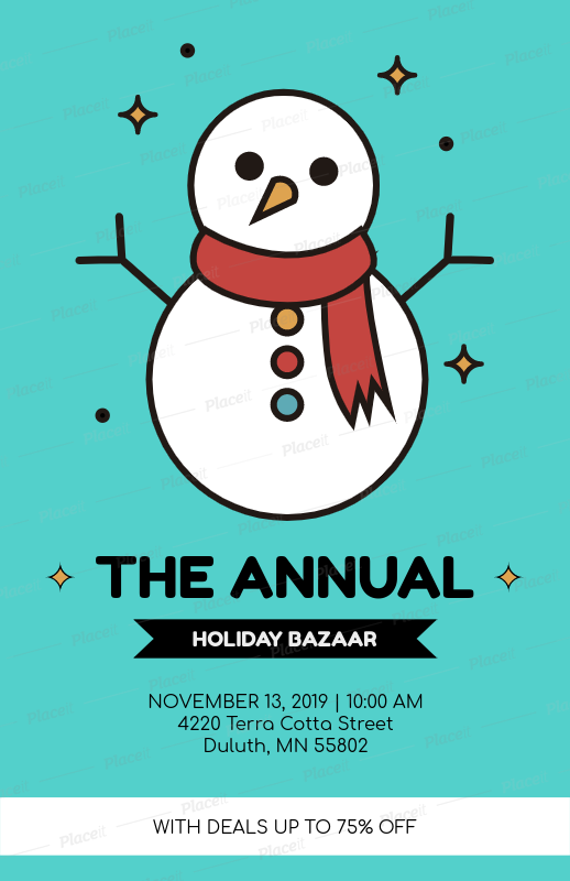 placeit xmas bazaar flyer template with snowman graphics