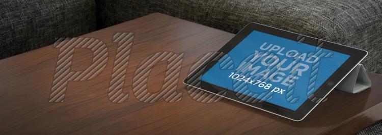 Placeit create app mockups black ipad on a table black ipad landscape living roomforeground image reheart Images