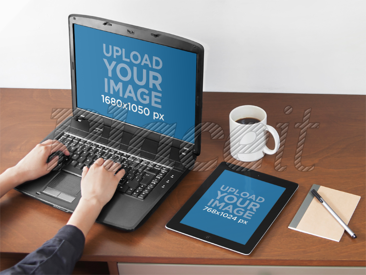 creative office supplies new pc laptop and ipad mockup template at creative office a4922foreground image placeit