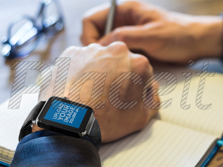placeit businessman writing with black apple watch mockup template