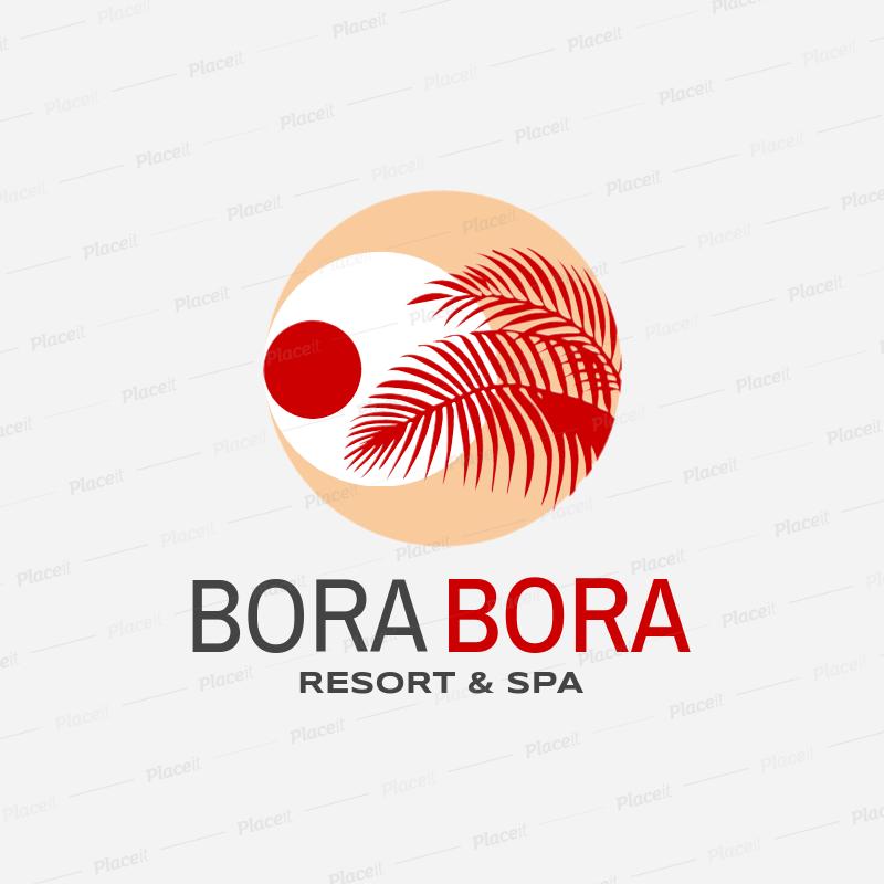 Placeit Resort Spa Logo Maker Featuring Beach Clipart