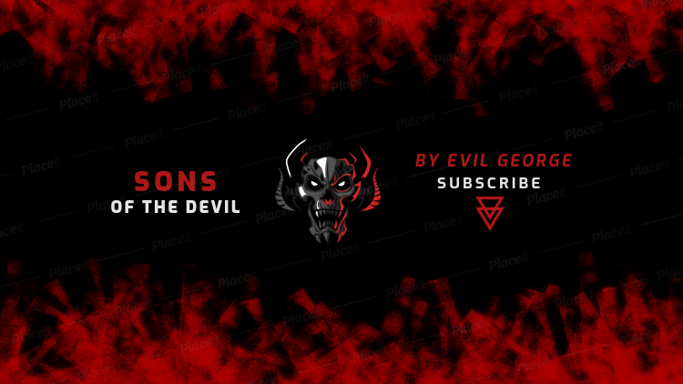 Placeit Youtube Banner Generator For A Gaming Channel With An Evil Skull Graphic
