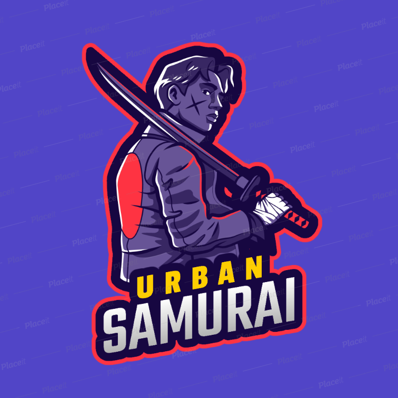 Placeit Free Fire Inspired Gaming Logo Maker Featuring An Urban Samurai Illustration