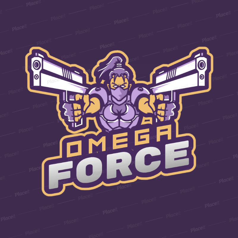 Gaming Logo Maker Featuring A Free Fire Inspired Female Character With Guns 2636e