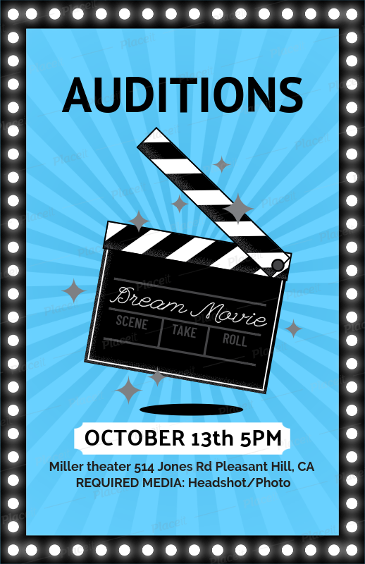 placeit movie auditions casting flyer template